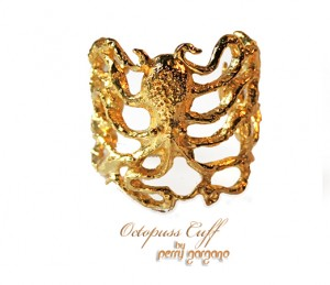 Perry Gargano's inimitable Octopus Cuff, plated in 14K gold