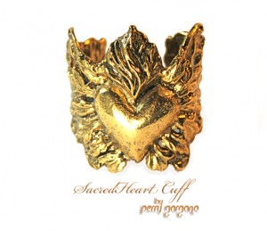 Sacred Heart Cuff by Sculptor-turned-jewelry-artist Perry Gargano