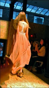 Back view of Eko-Lab's hand crocheted details on the peach gauze dress.